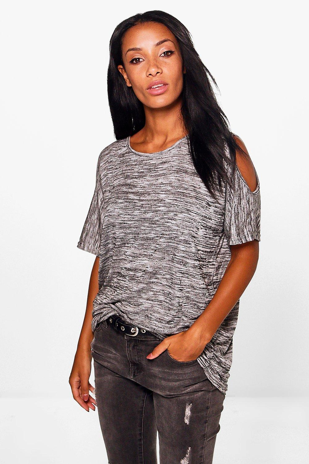 Ella Cold Shoulder Marl Oversized T-Shirt