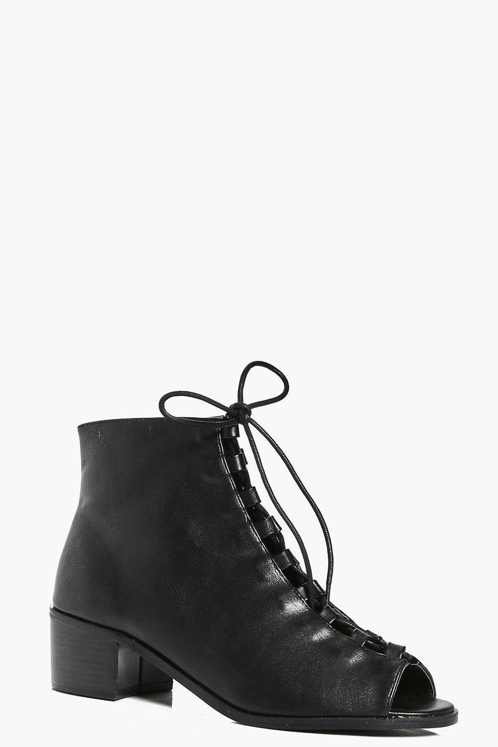 Angel Lace Up Block Heel Shoe Boot