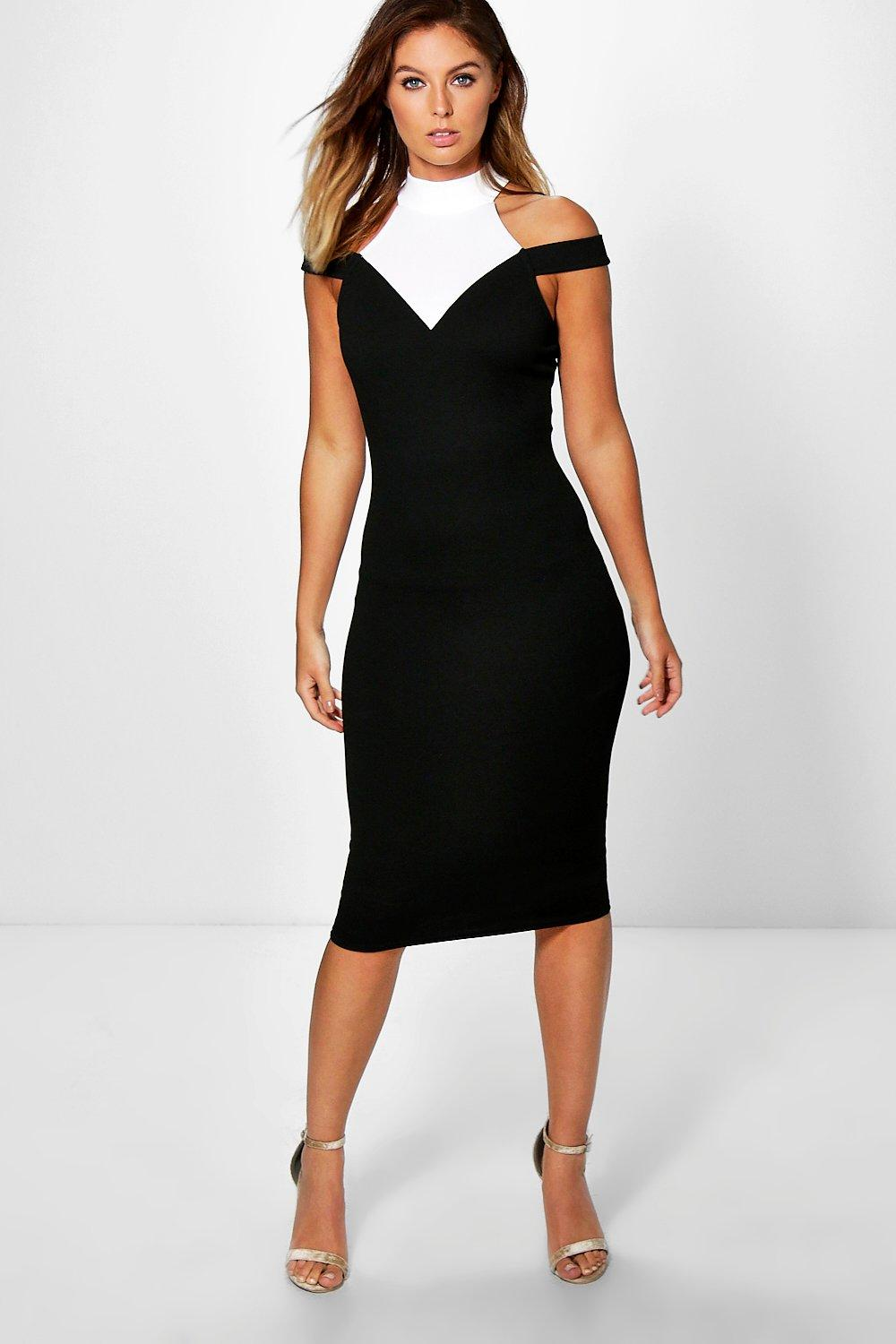 Rachel Contrast Open Shoulder Midi Dress