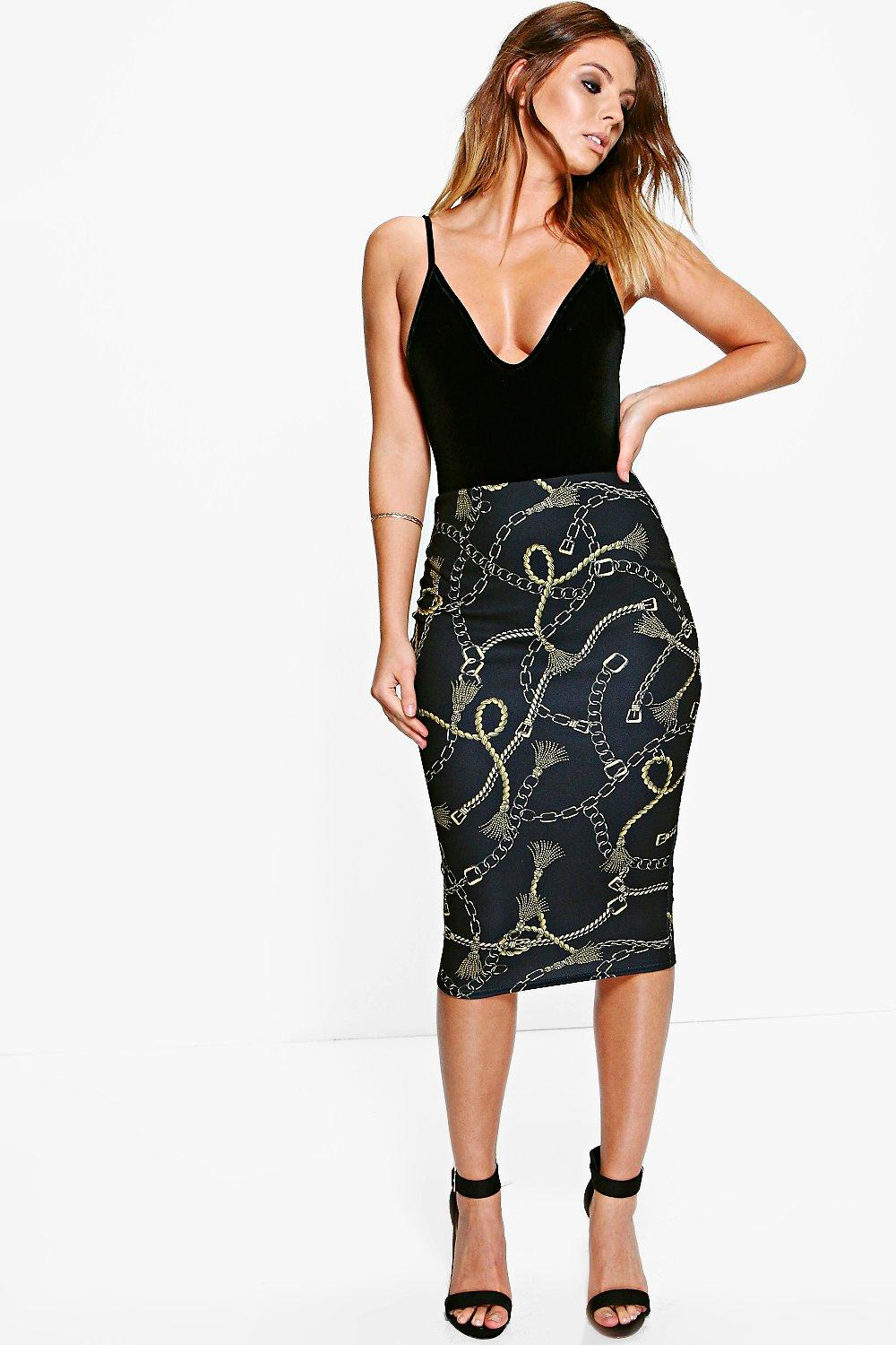 Kate Tassle Chain Print Midi Skirt