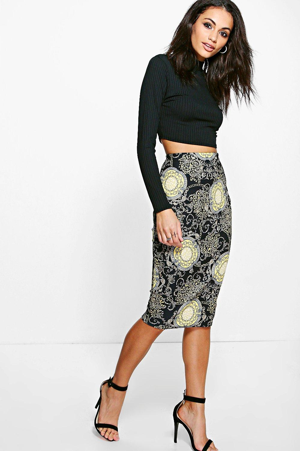 Giselle Elaborate Gold Chain Print Midi Skirt