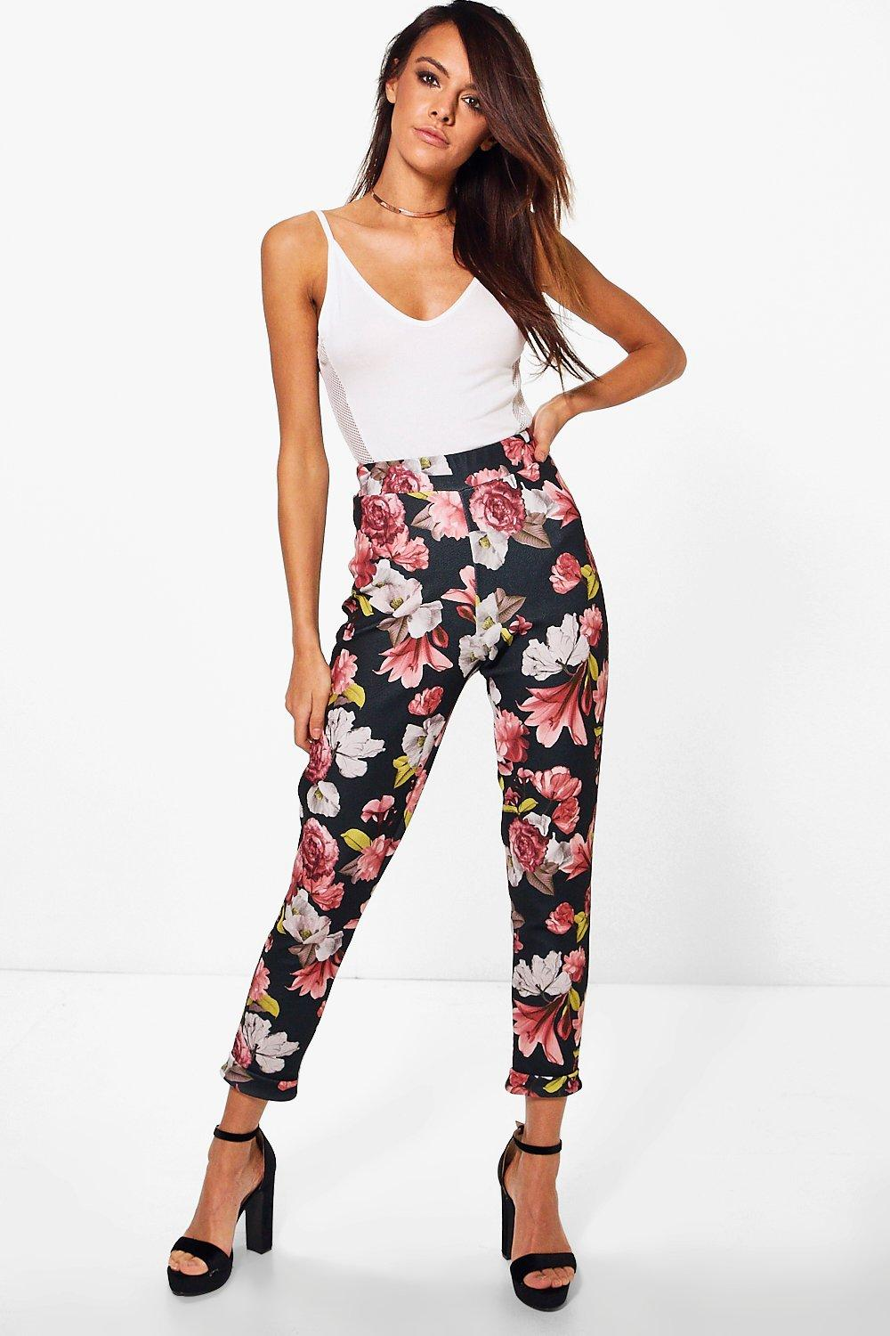 Lottie Winter Floral Skinny Stretch Trousers