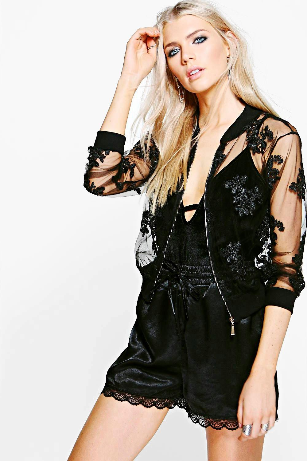 Lydia Mesh Lace Applique Bomber