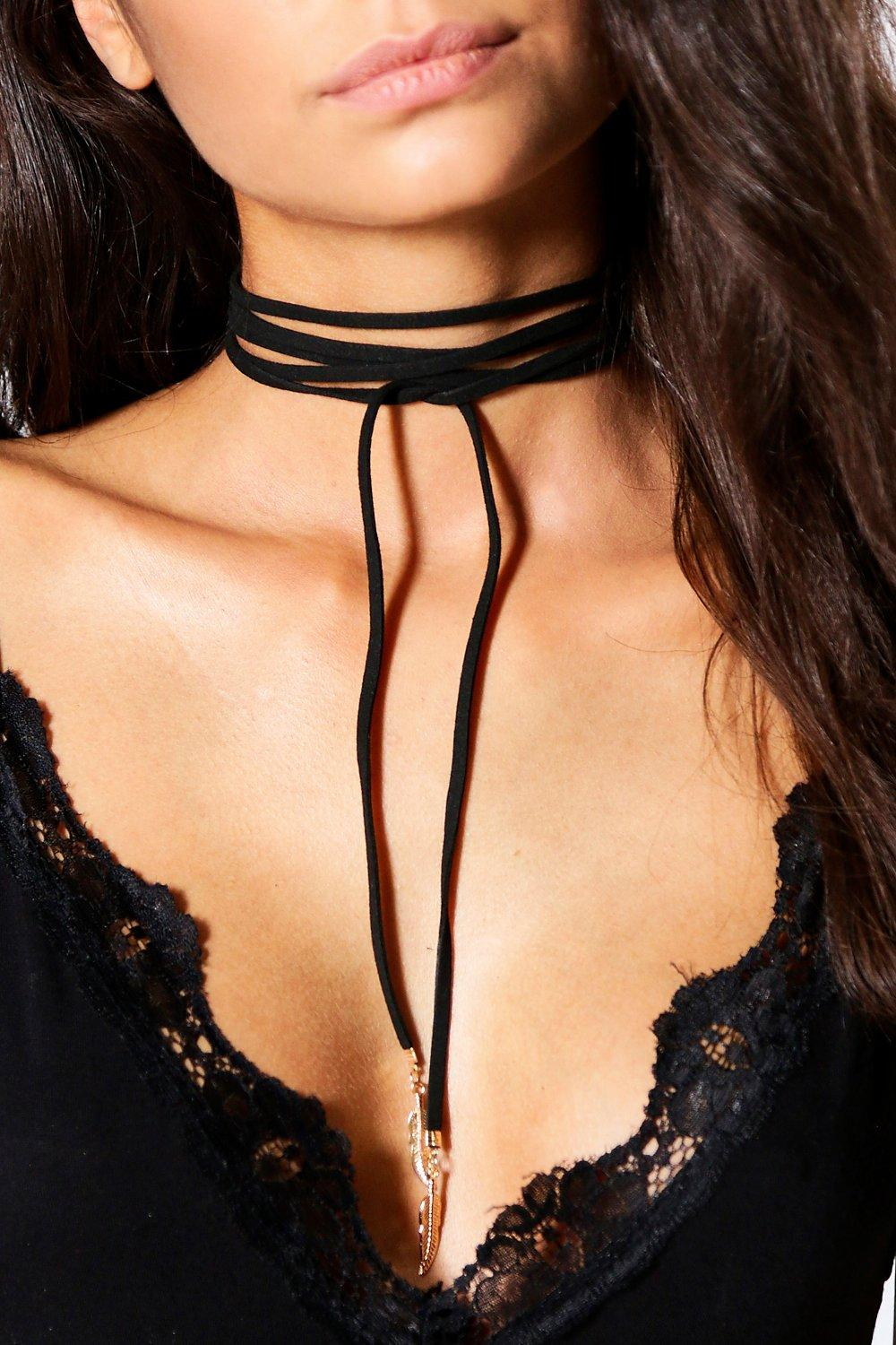 Ivy Feather Tip Suedette Wrap Around Choker