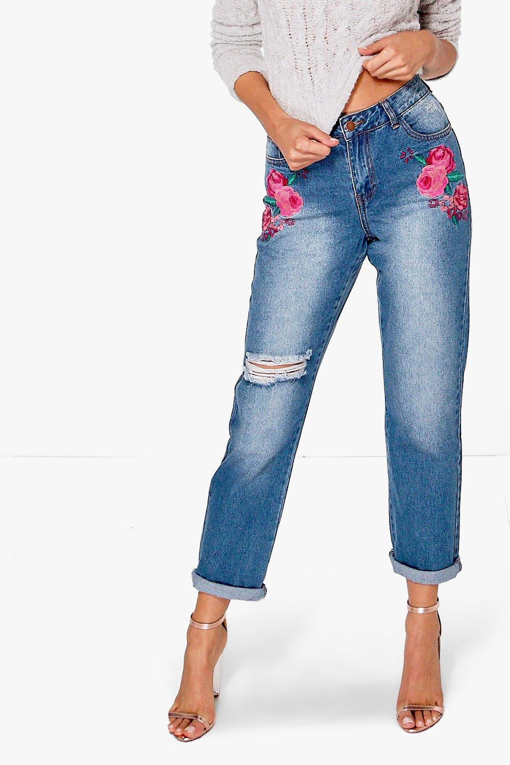 Catherine Embroidered Boyfriend Jeans