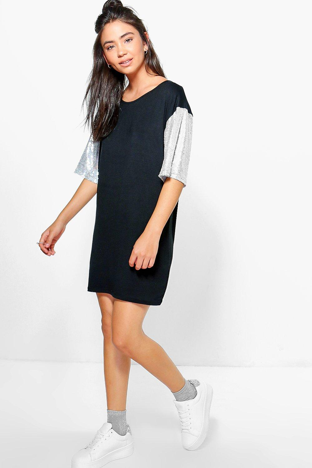 Lydia Oversized Sequin Sleeve T-Shirt Dress