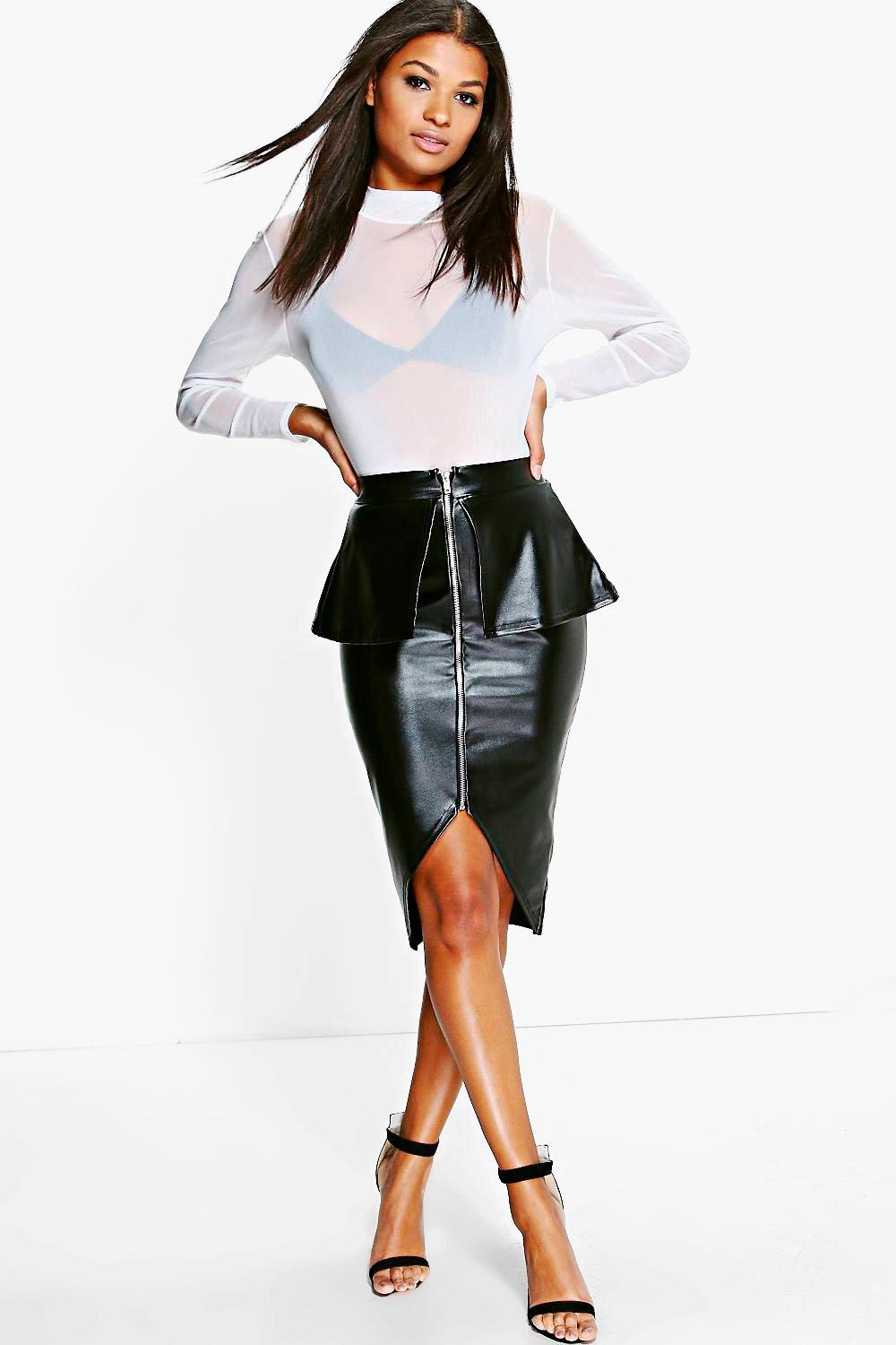 Nia Leather Look Peplum Midi Skirt