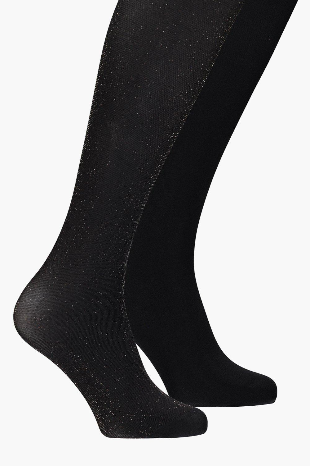Casey Plain and Gold Sparkle Tights 2 Pack