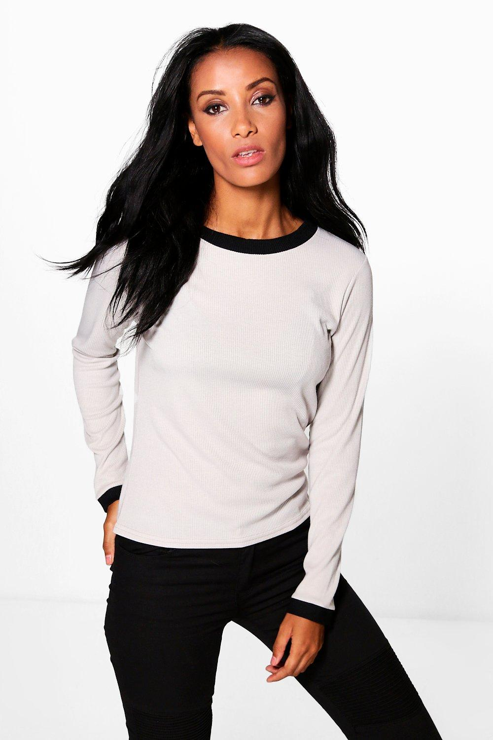 Ellie Basic Rib Long Sleeve Ringer T-Shirt