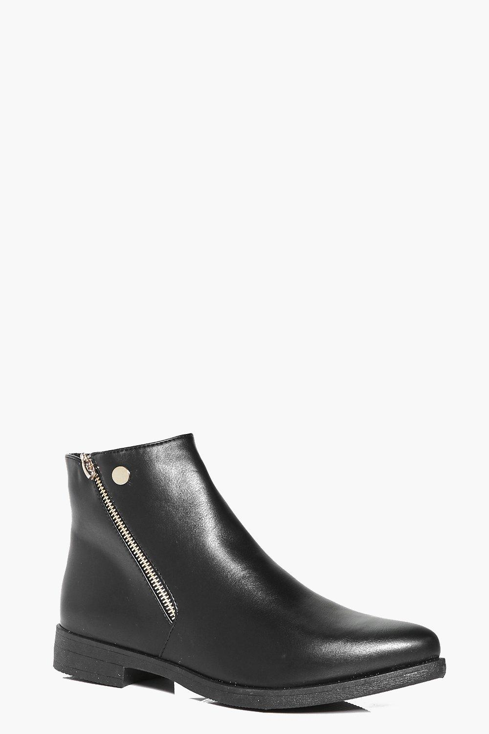 Emily Gold Zip Pointed Chelsea Boot