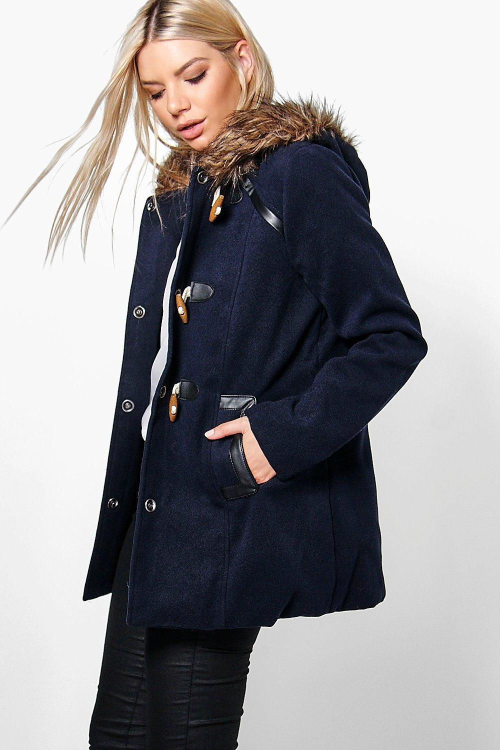 Poppy Wool Look Parka With Toggles