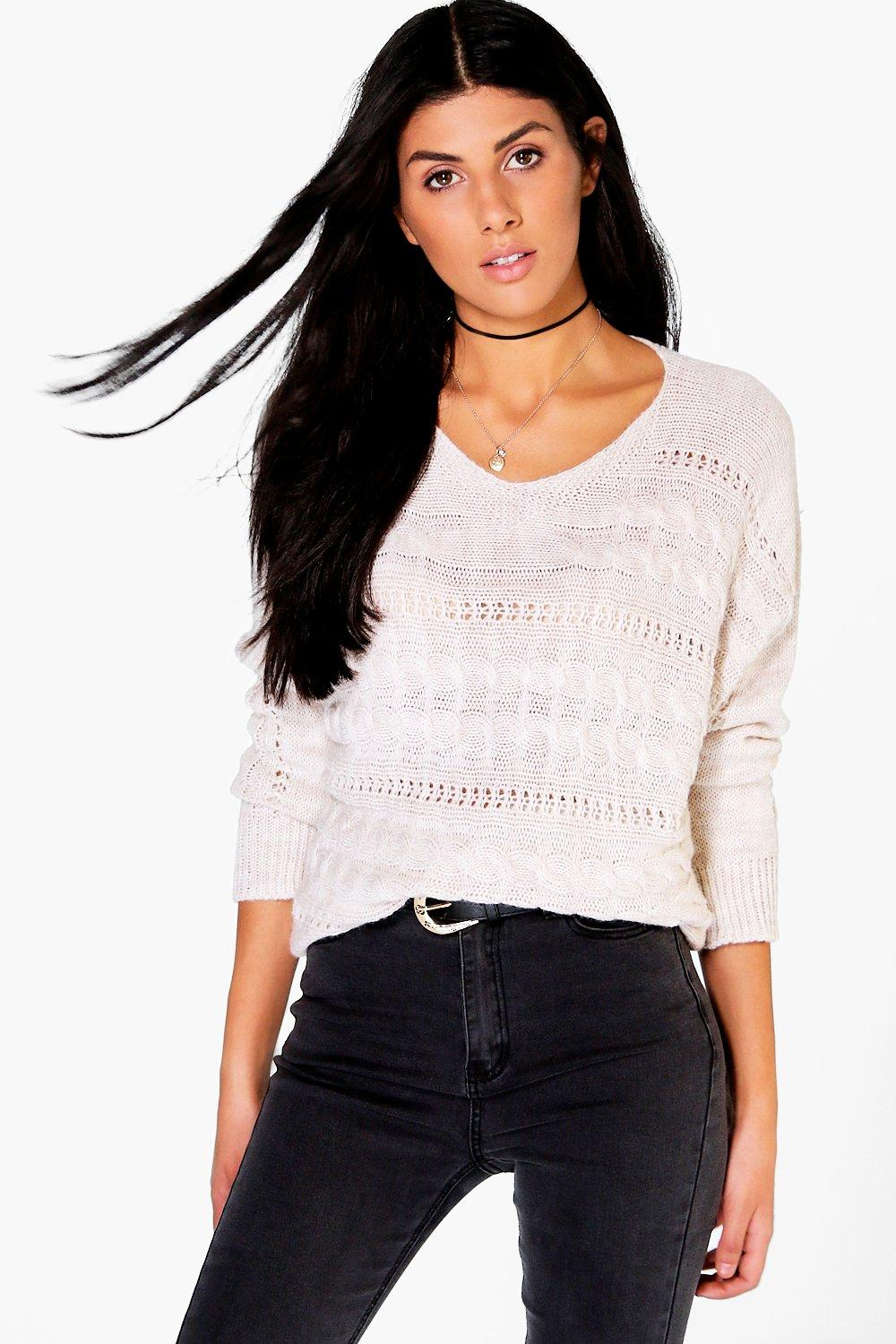 Jess VNeck Cable Knit Jumper