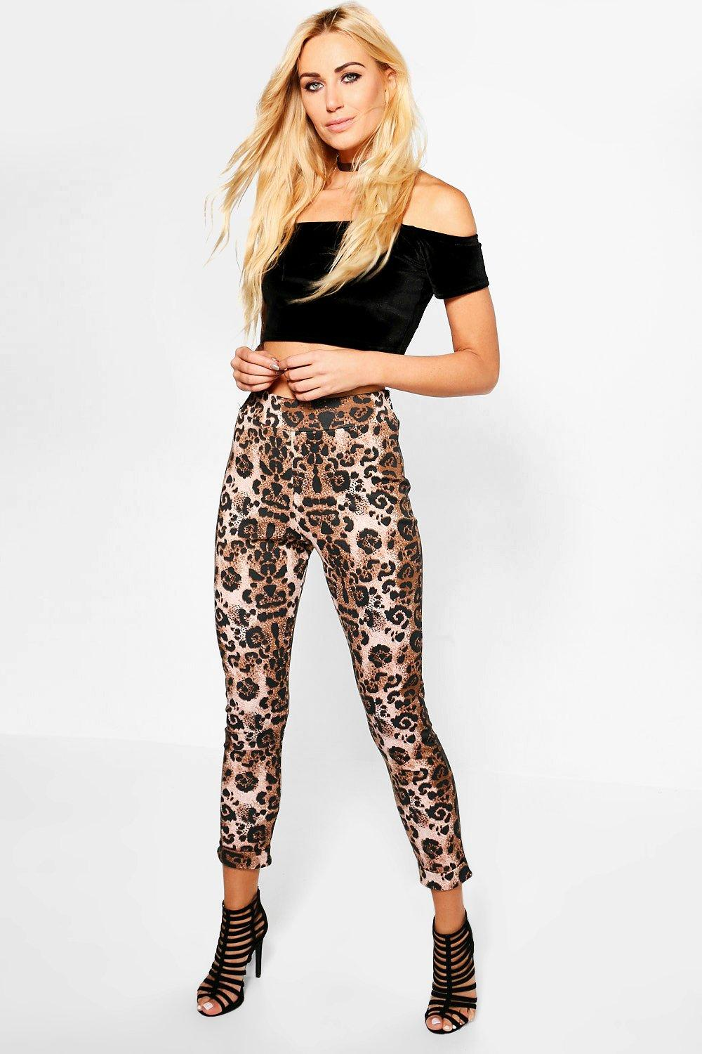 Ana Leopard Print Stretch Skinny Trousers
