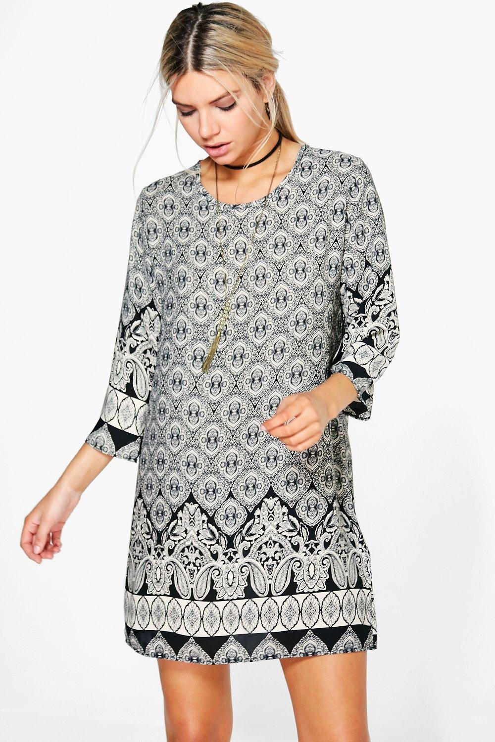 Karen Paisley Border Print Shift Dress