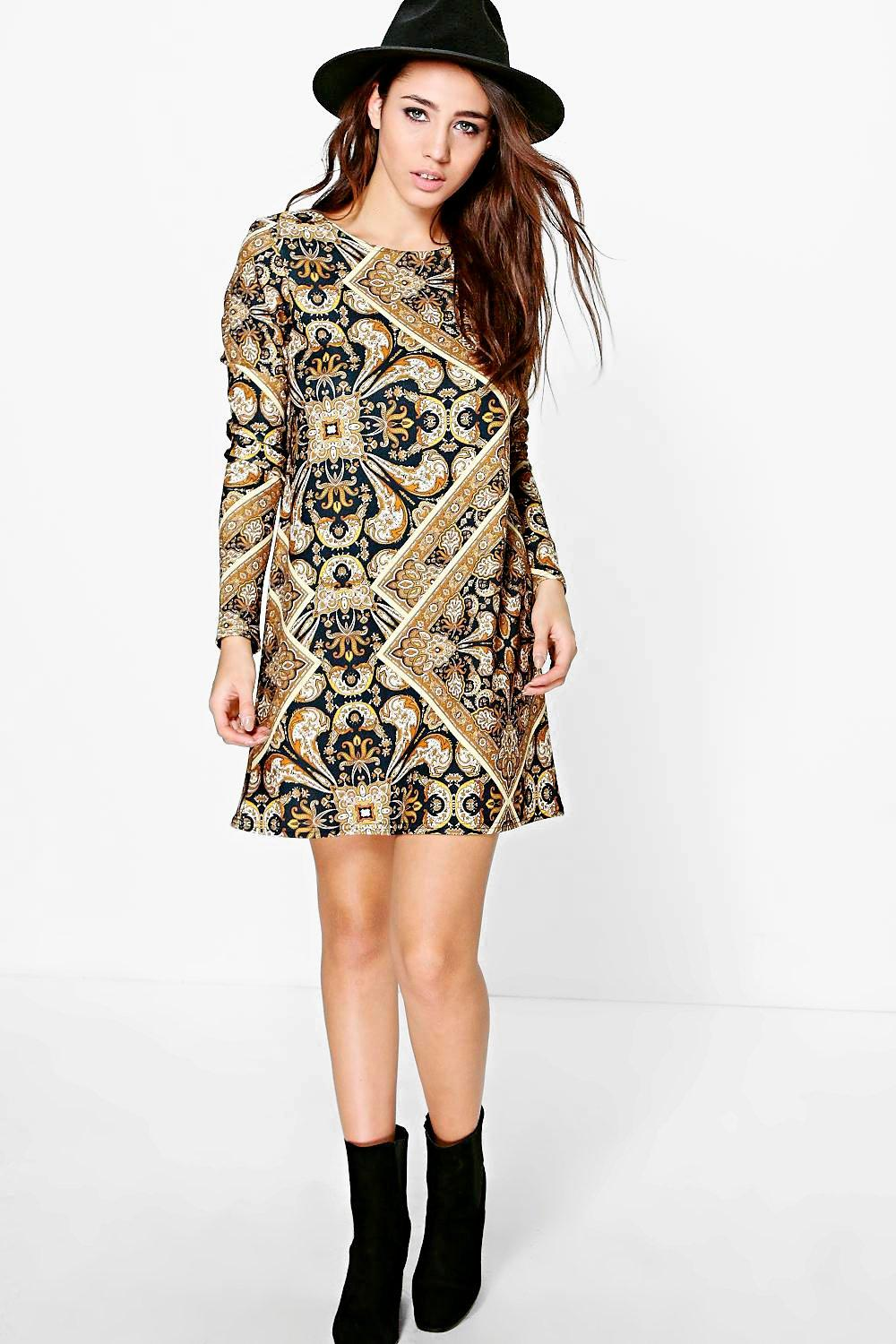 Eliza Long Sleeve Printed Shift Dress