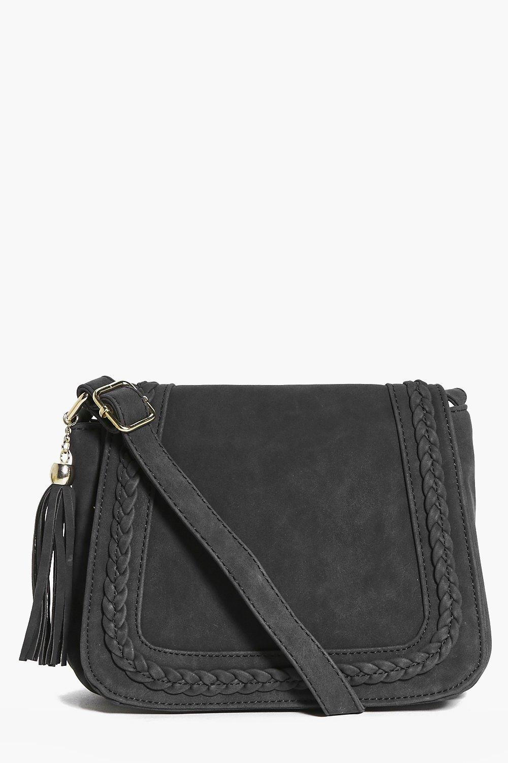 Millie Plait Edge Suedette Saddle Bag
