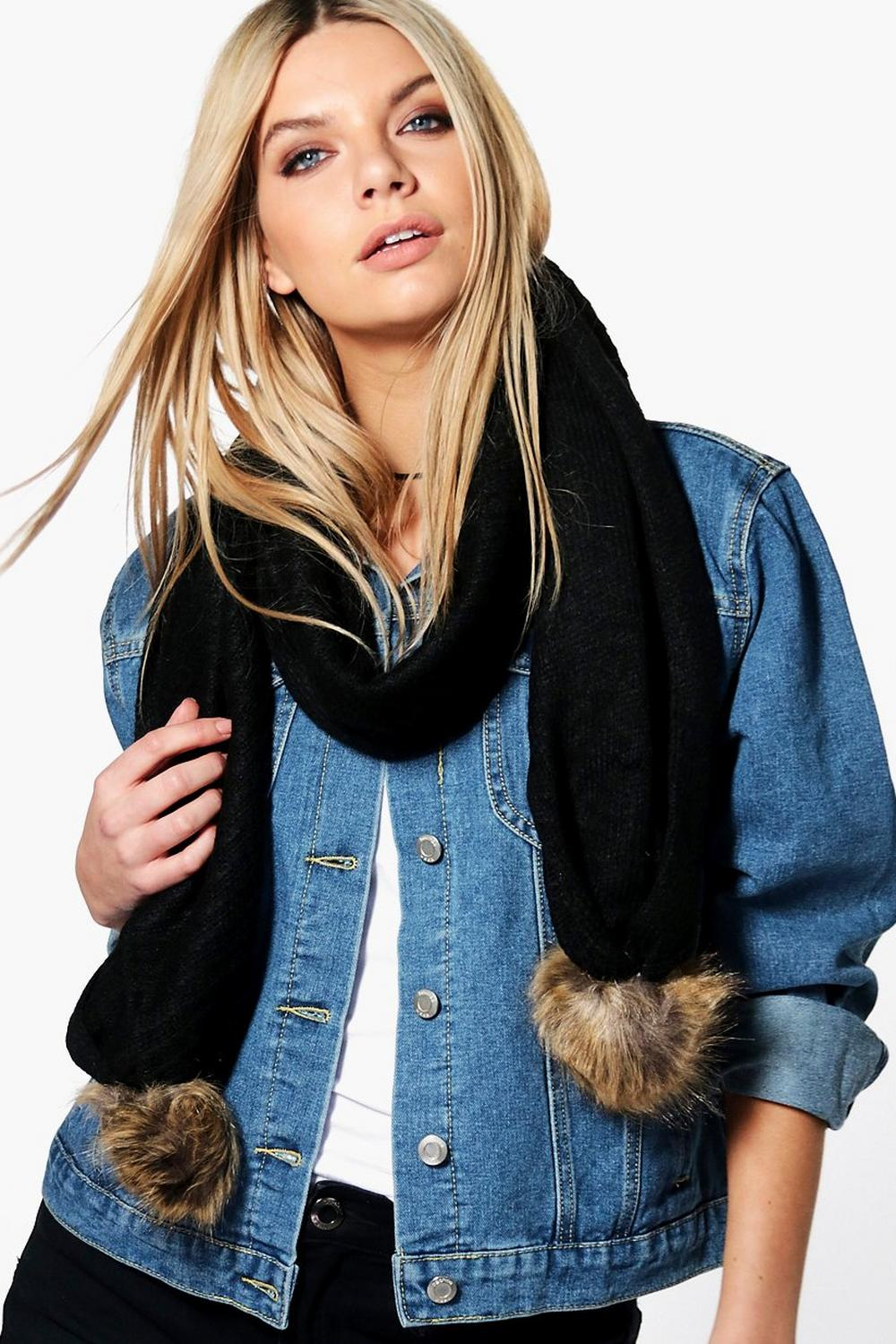 Ellie Faux Pom Trim Cable Knit Scarf