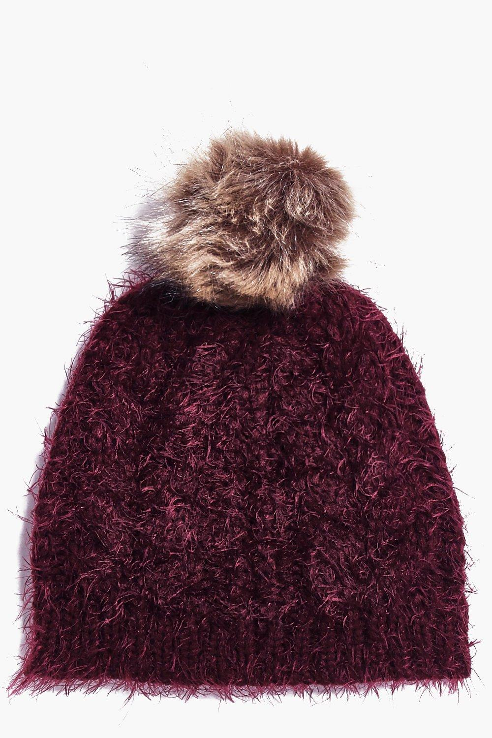 Eva Super Soft Faux Fur Pom Beanie Hat