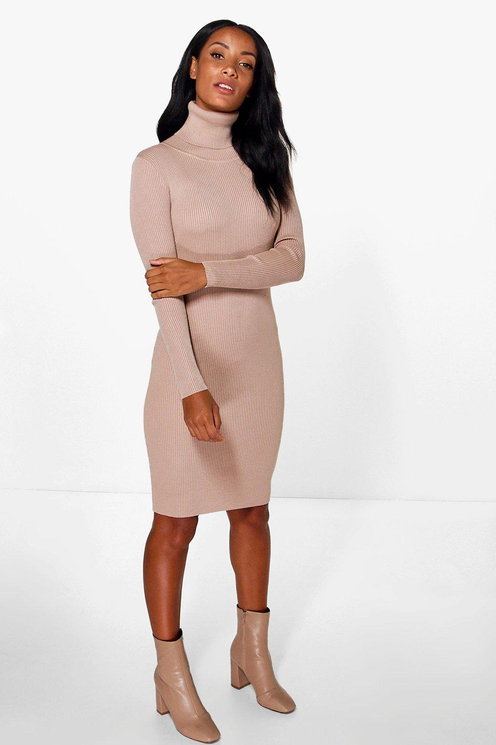 Isla Roll Neck Knitted Midi Dress