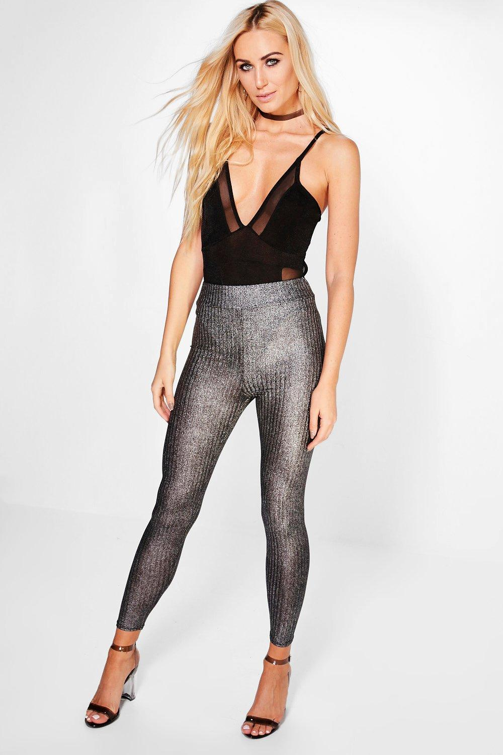 Lia Foiled Rib Highwaist Leggings