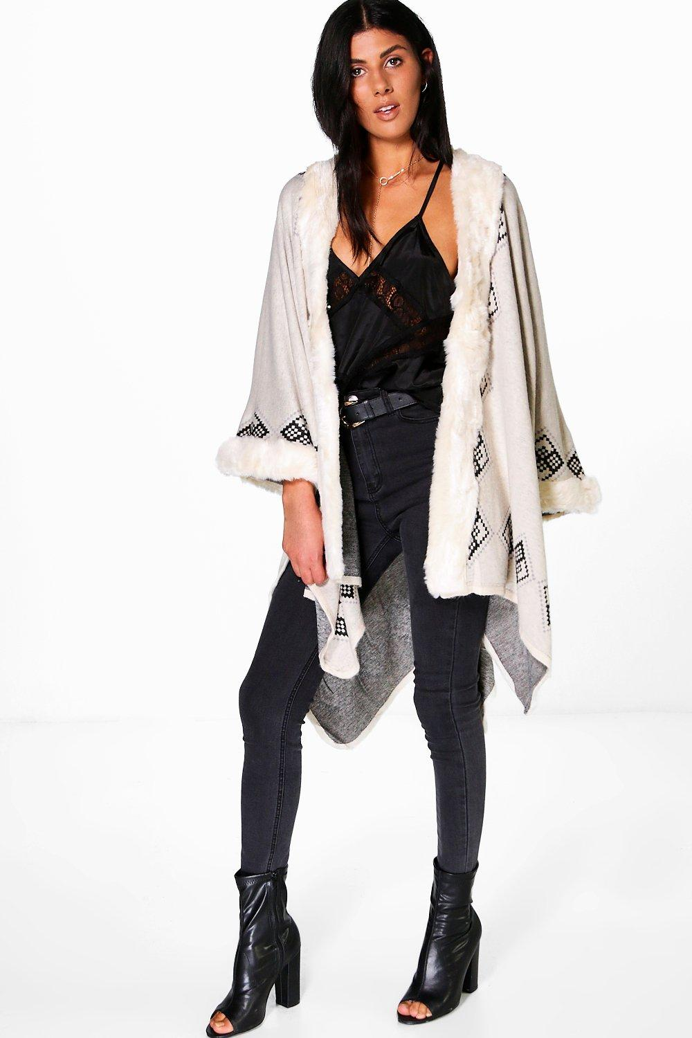 Bethany Faux Fur Trim Aztec Cape