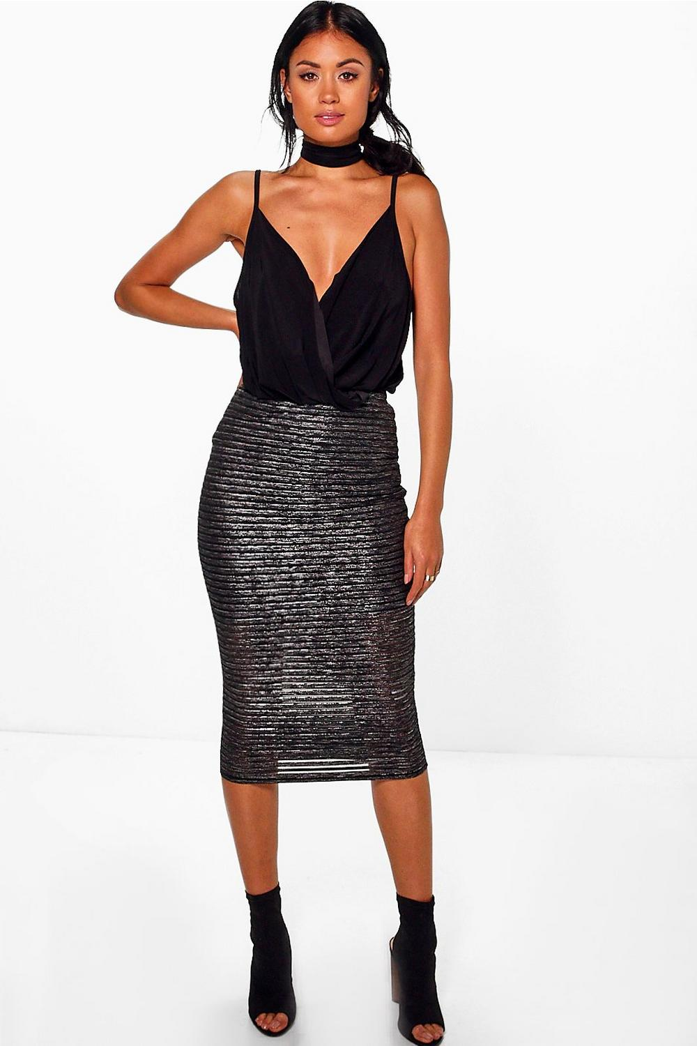 Bella Metallic Stripe Midi Skirt