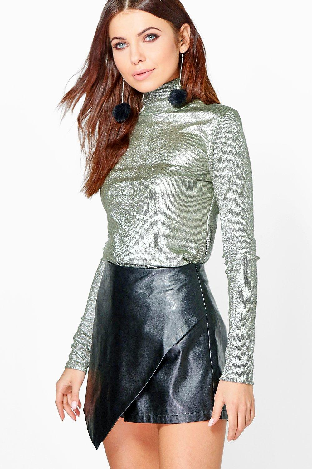 Gracie Metallic Roll Neck Top