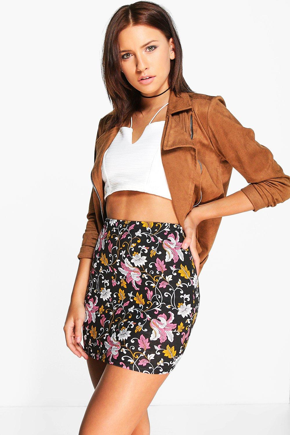 Nerl Bohemian Floral Jersey Mini Skirt