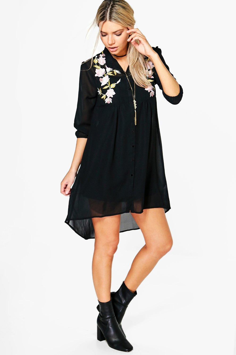 Boutique Afia Embroidered Shirt Dress