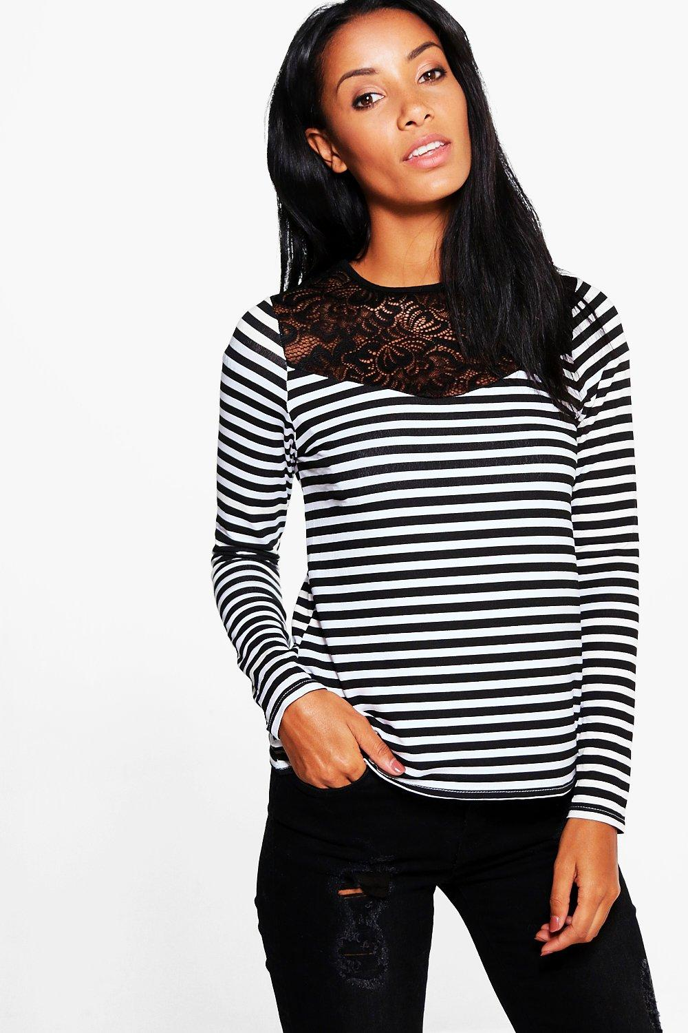Lula Lace Trim Striped T-Shirt
