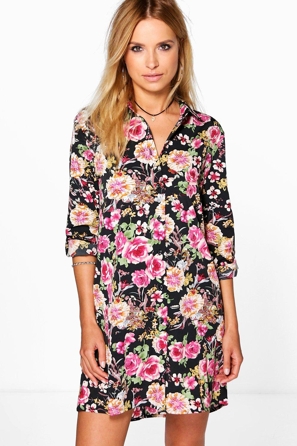 Sybil Floral Long Sleeved Shirt Dress