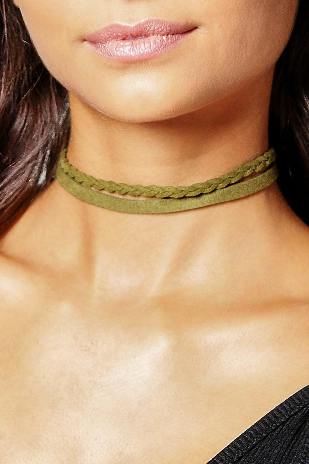 Faith Suedette Plait Choker