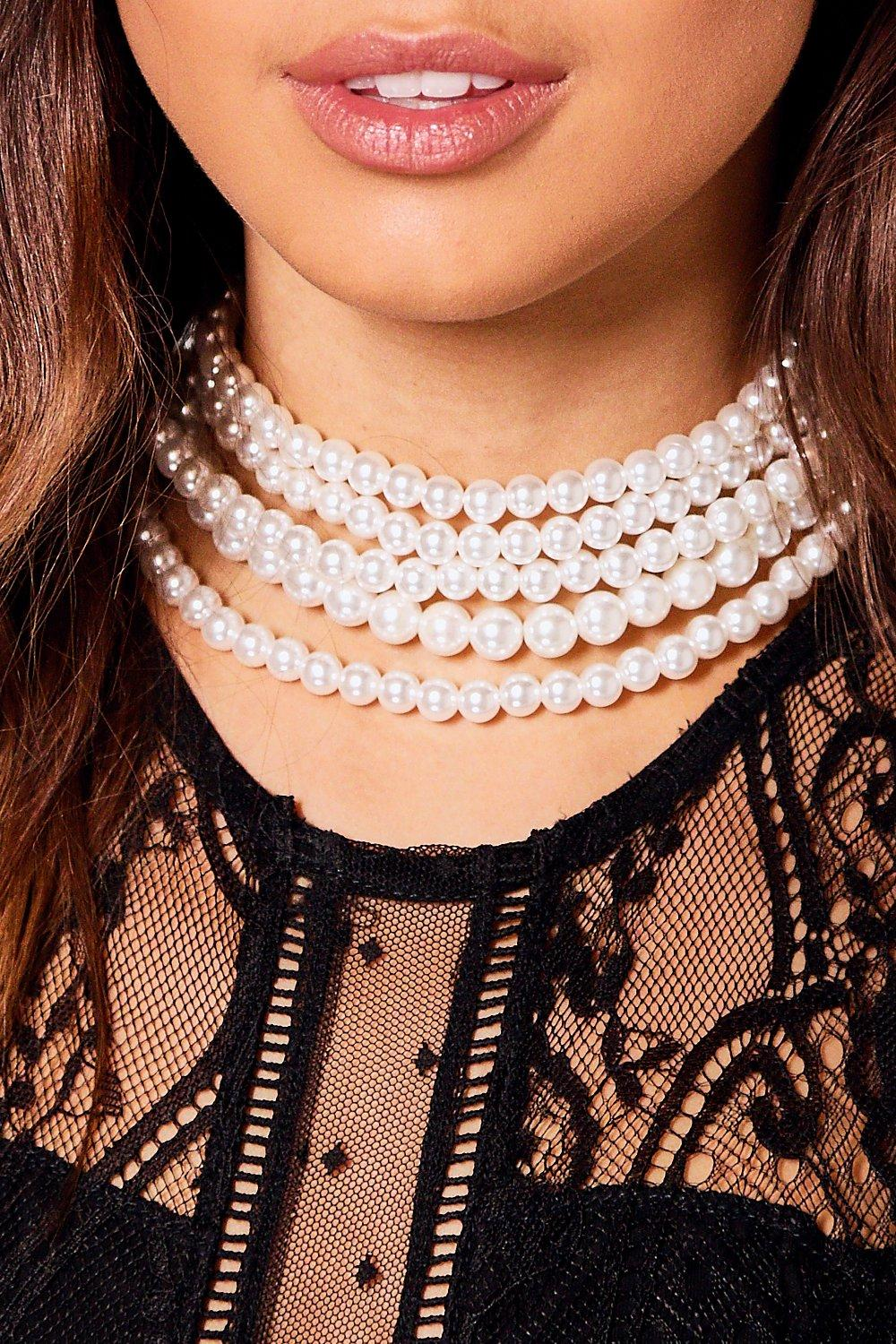 Anna Pearl Choker With Long Pearl Necklace