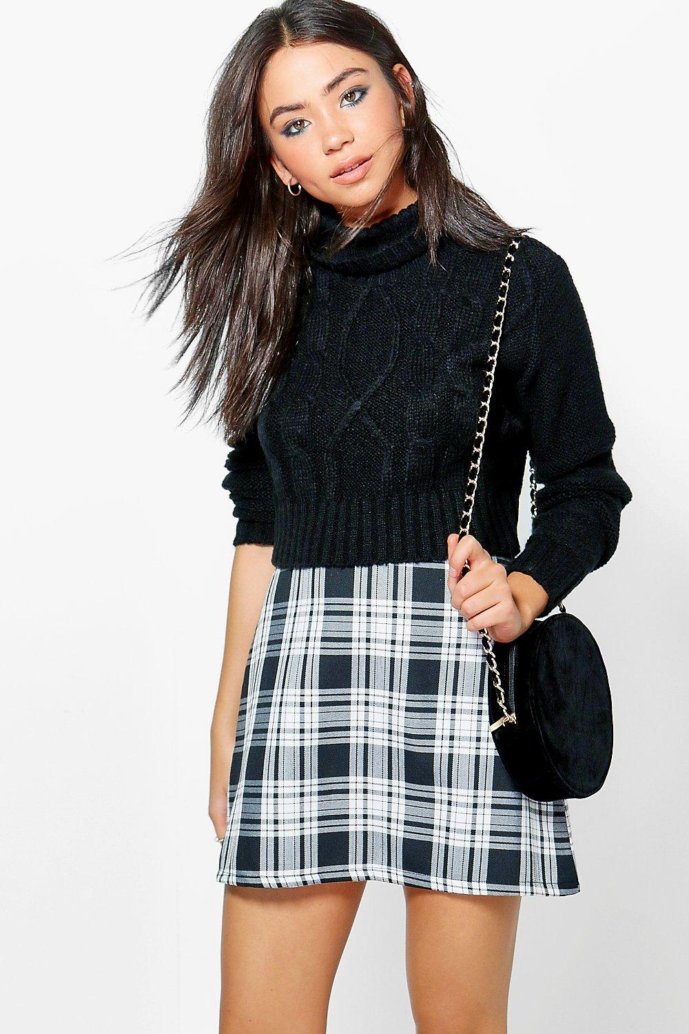 Lorelei Monochrome Check Woven A Line Mini Skirt