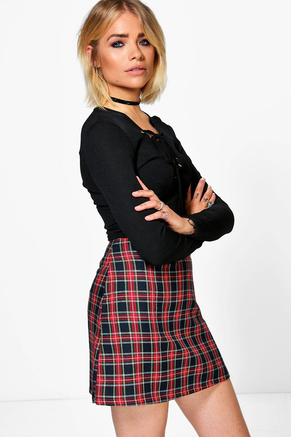 Lua Tartan Check Woven A Line Mini Skirt