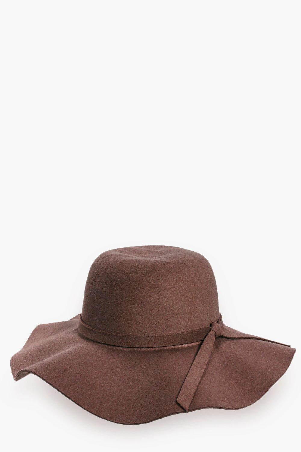 Poppy Beige Bow Wool Look Fedora