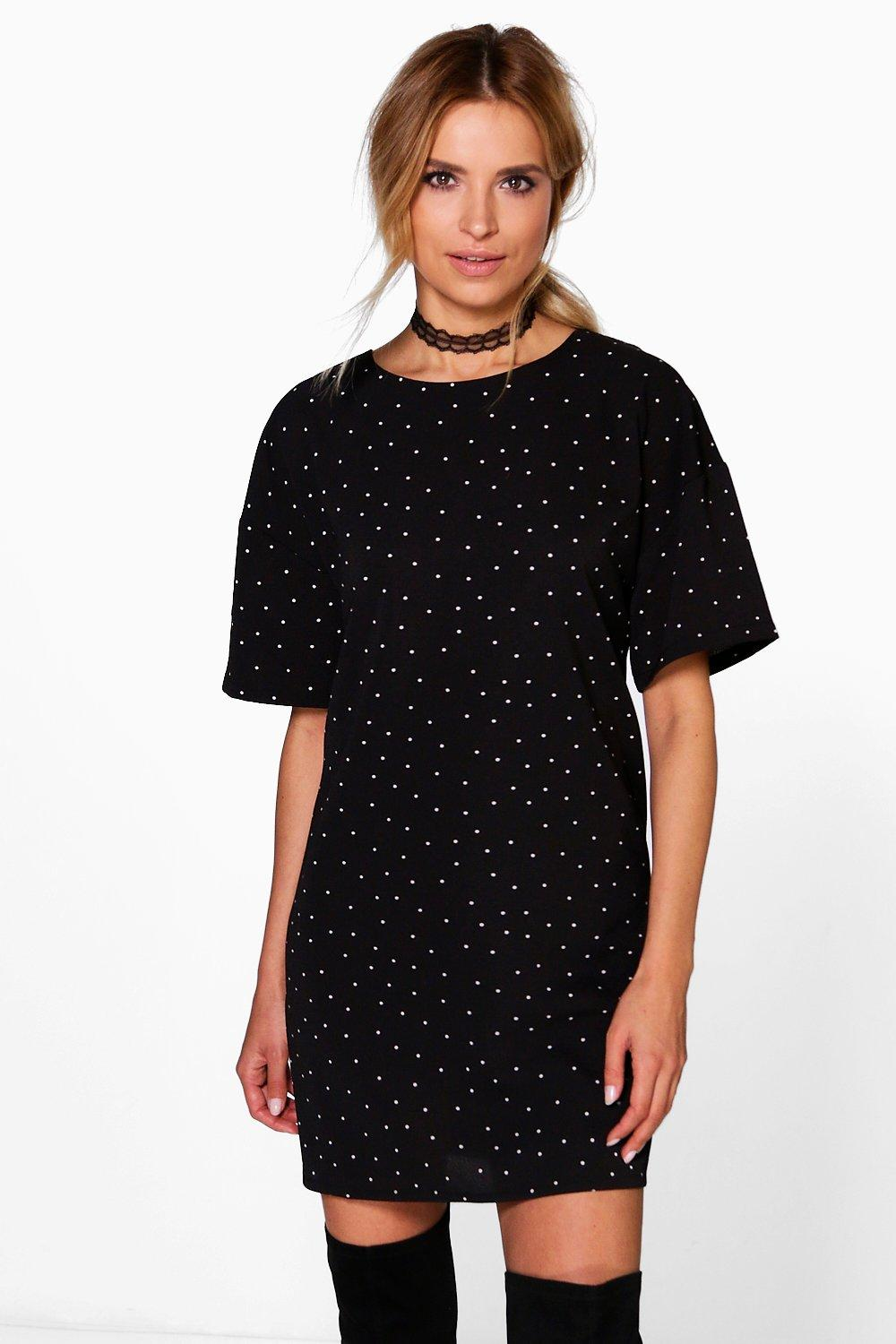 Fallon Woven Polka Dot Shift Dress