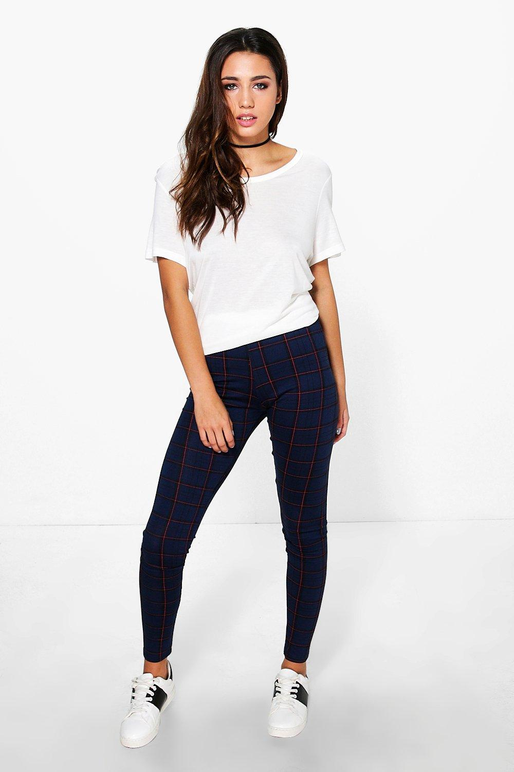 Yara Red Stripe Tonal Check Leggings