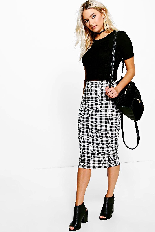 monochrome check midi skirt at boohoo