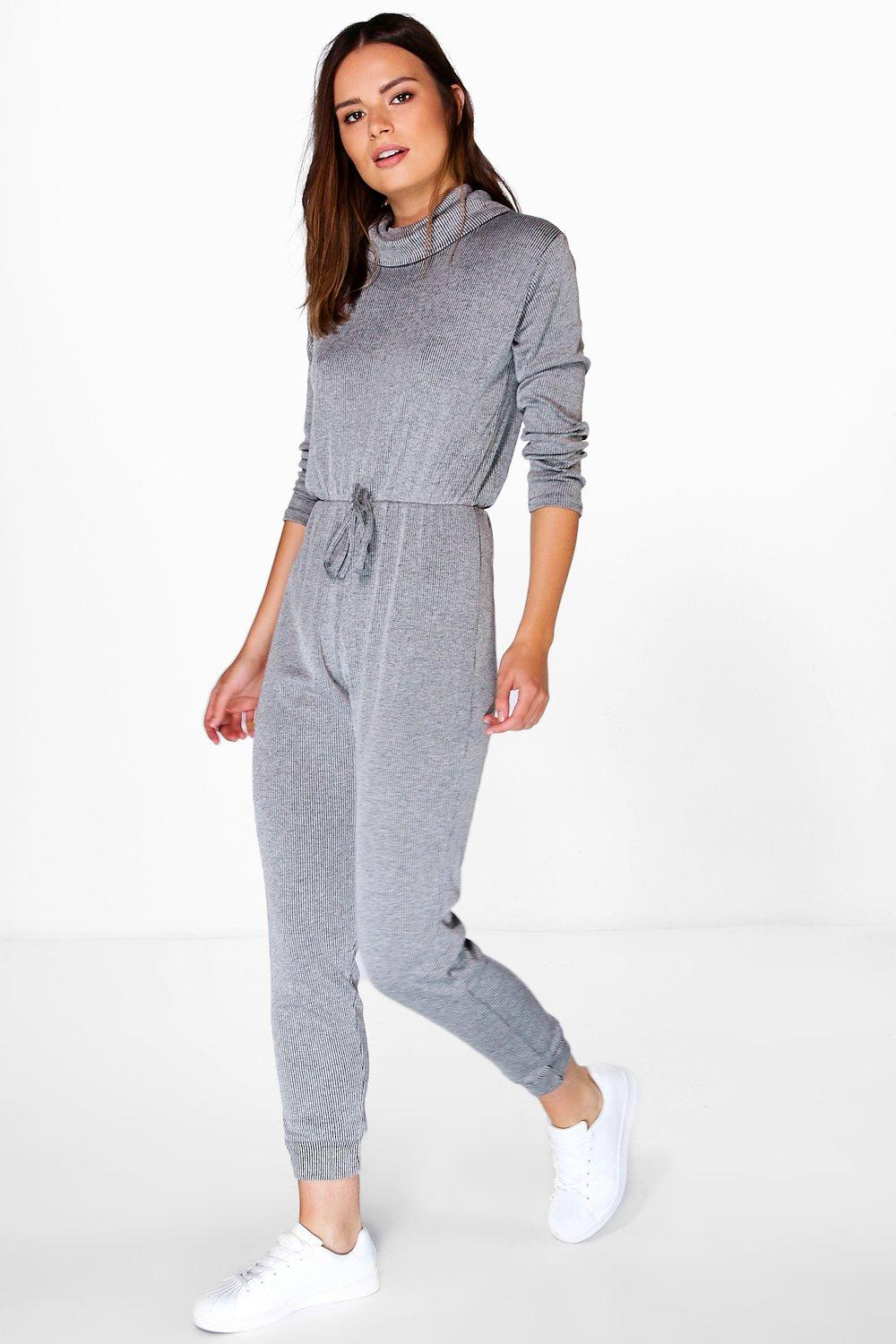 Beth Polo Neck Ribbed Jumpsuit