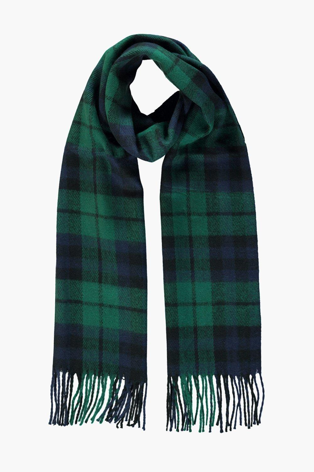 Emily Bottle Green Brushed Check Scarf