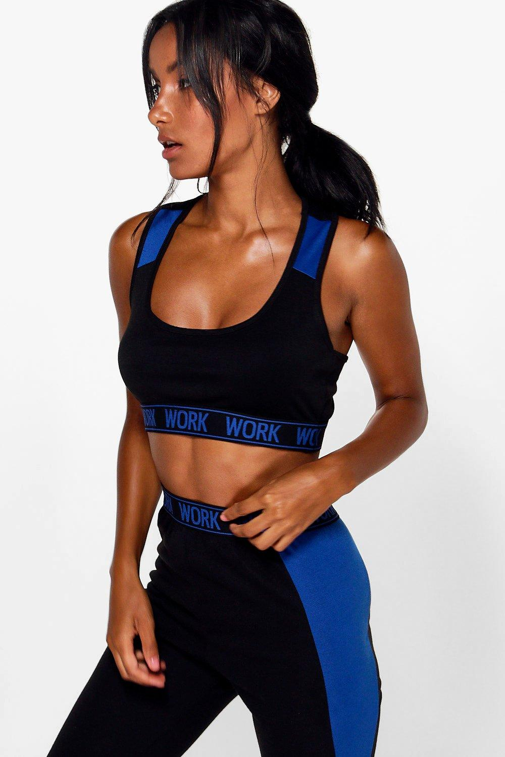 Sophia FIT Work Slogan Band Sports Bra