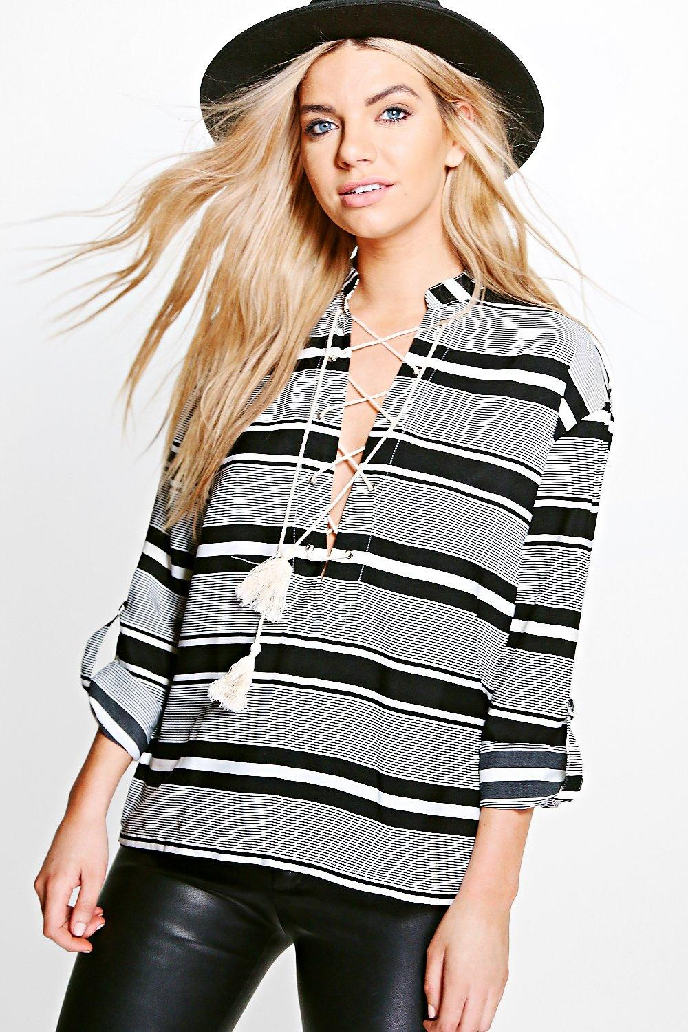 Maria Stripey Lace Up Blouse