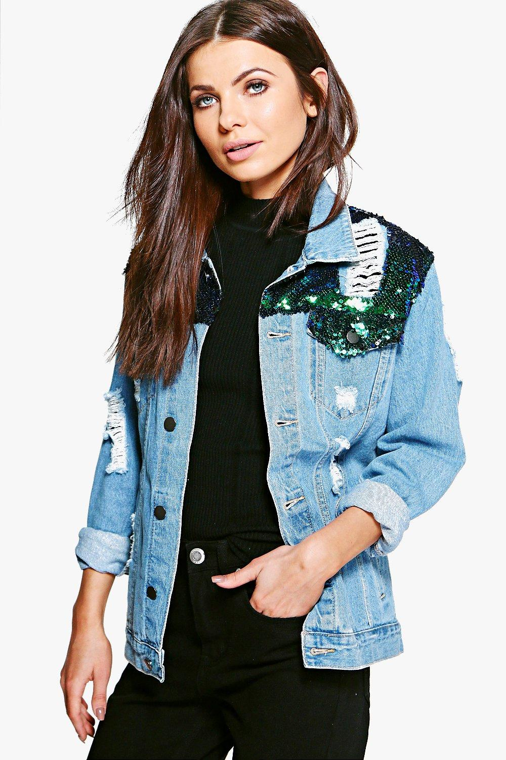 Zoe Sequin Yoke Denim Jacket