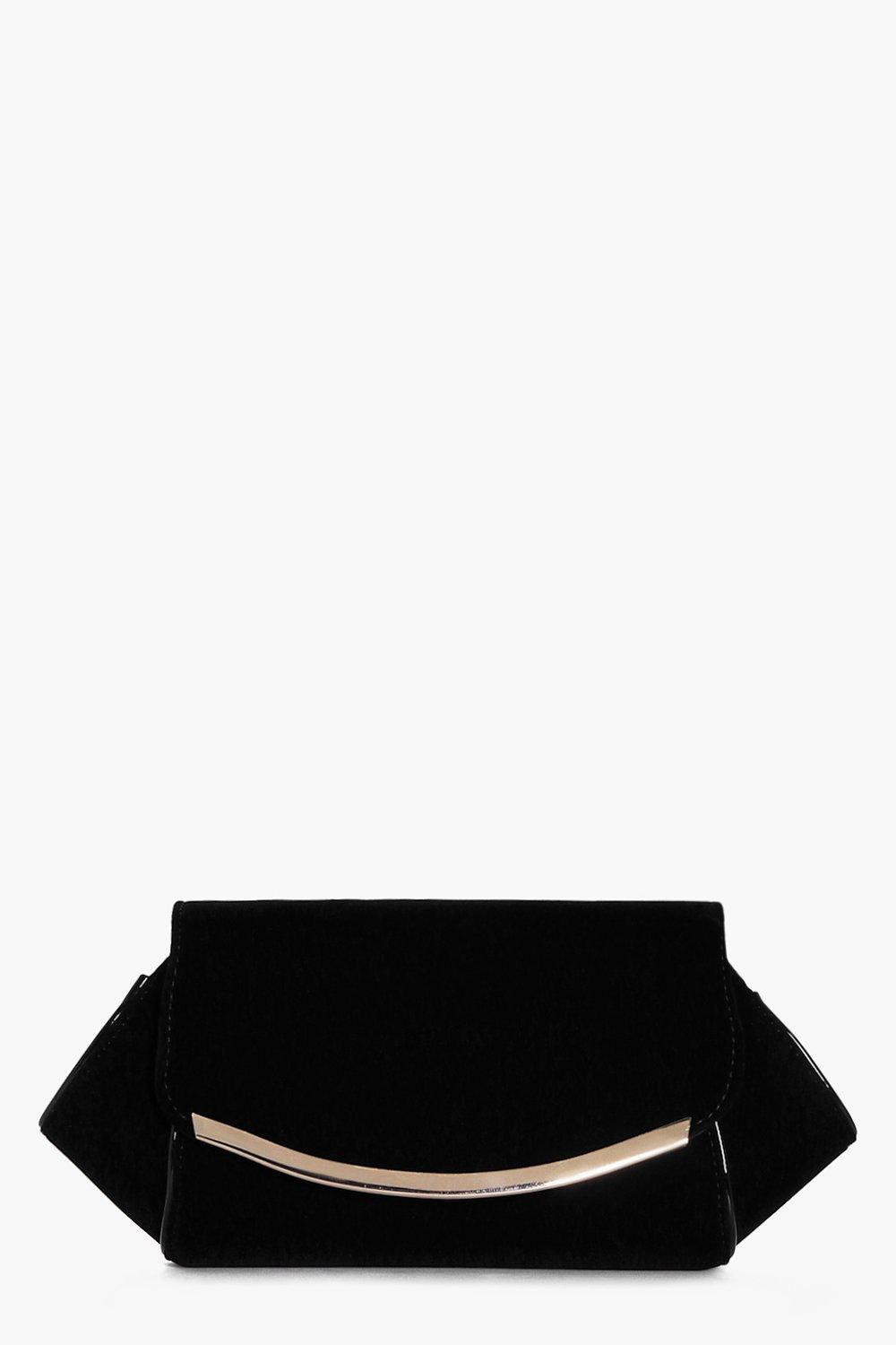 Faith Winged Metal Detail Velvet Clutch