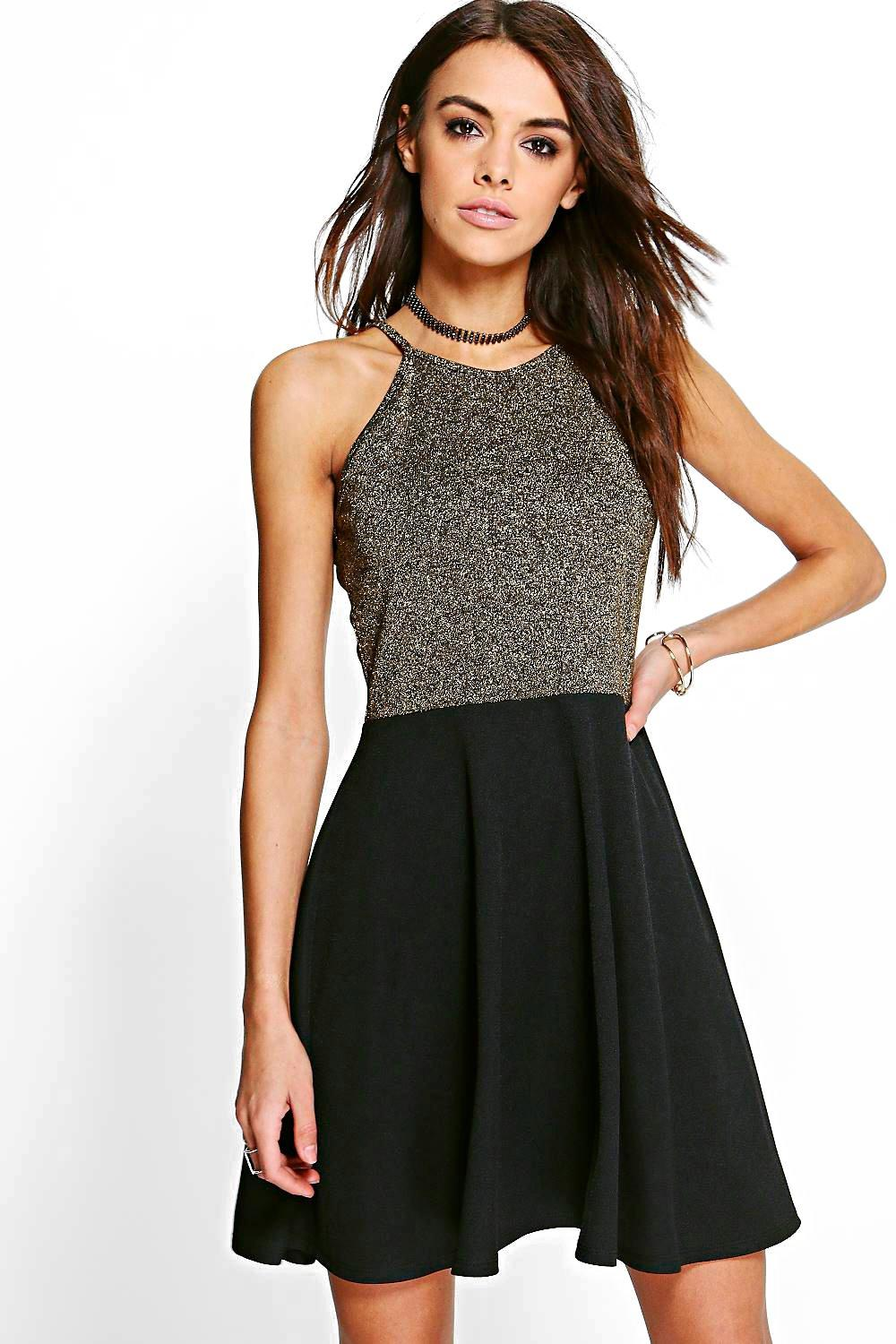 Lydia Metallic Contrast Skater Dress
