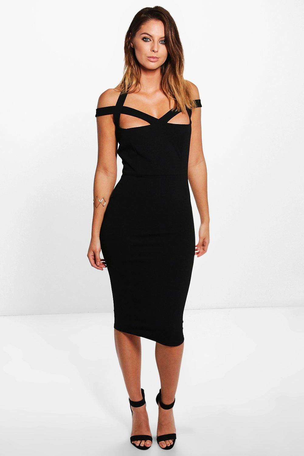 Toril Strappy Detail Midi Dress