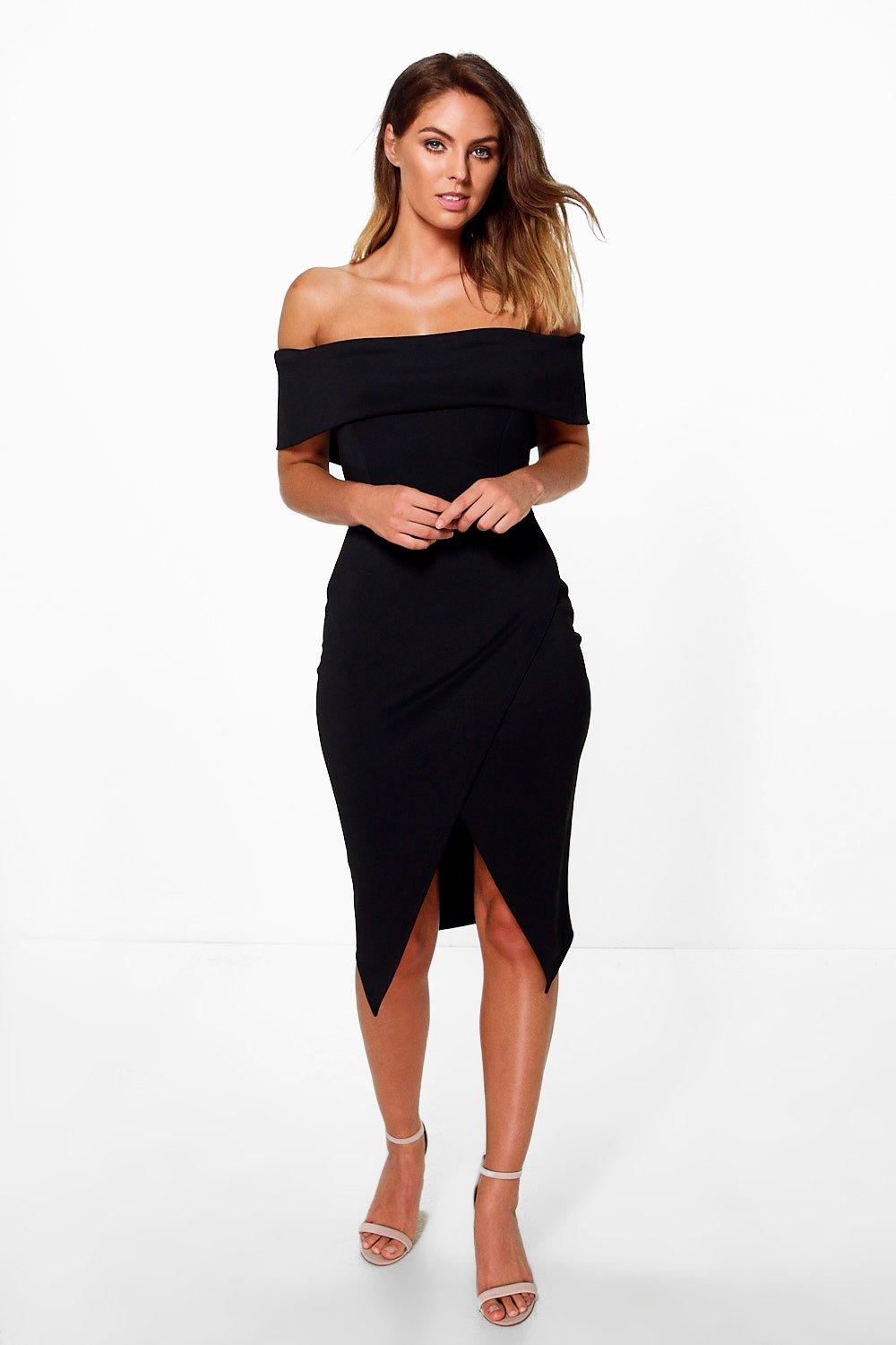 Phillis Off Shoulder Wrap Skirt Midi Dress at boohoo.com