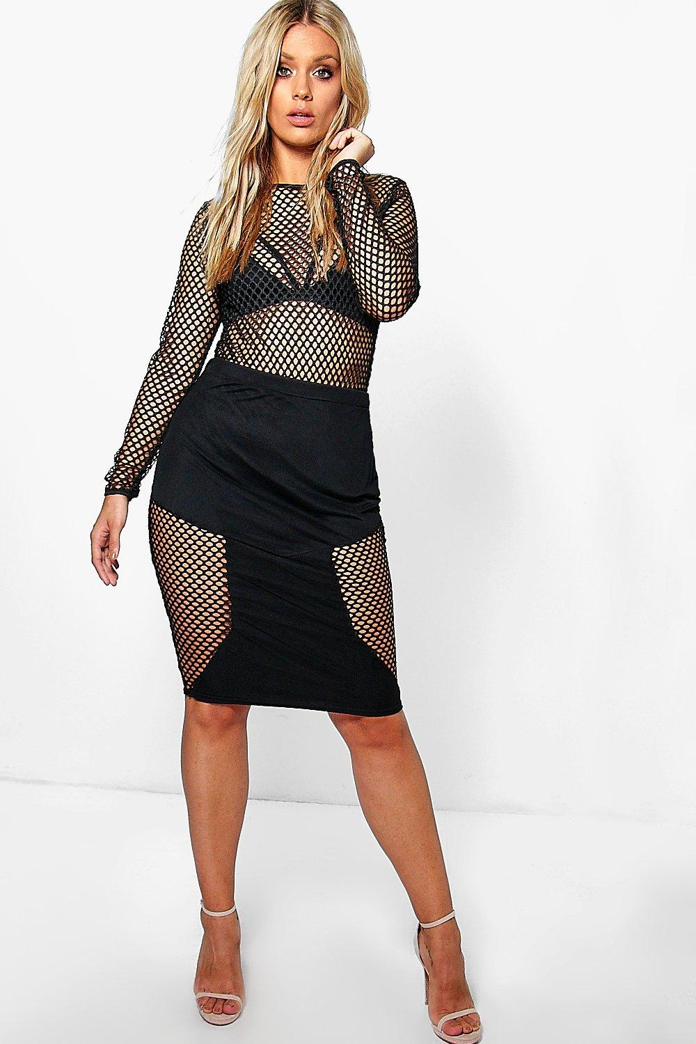 Jordyn Fishnet Detail Midi Pencil Skirt