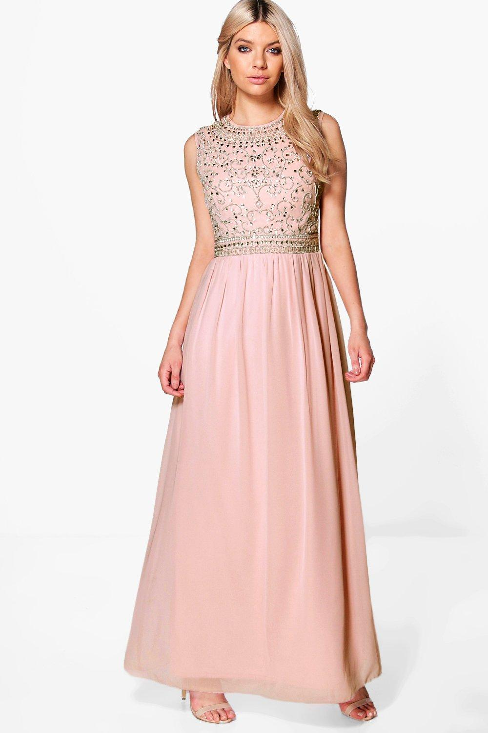 Boutique isla embellished chiffon maxi dress at for Boohoo dresses for weddings